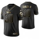 Men's Los Angeles Rams #30 Todd Gurley II  Black Golden color rush Jersey