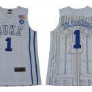 Men's Zion Williamson Jersey #1 Duke College White Basketball Jersey Decorative pattern