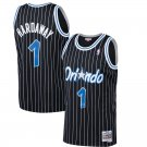 Men's Penny Hardaway Jersey #1 Orlando Magic Black Classics Stripe Jersey