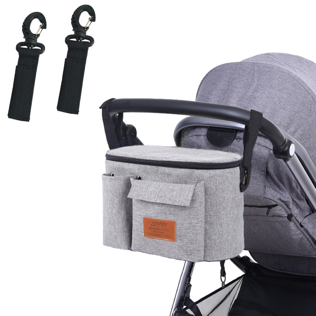 Stroller Organizer Universal Fit for All Strollers with Cup Holders and Hook Clips