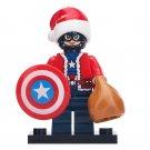 Minifigure Captain America Christmas Santa Marvel Super Heroes Compatible Lego Building Block Toys
