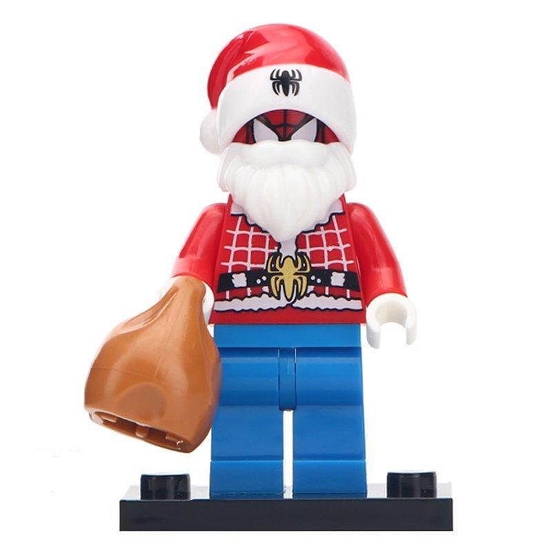 Minifigure Spider-man Santa Christmas Marvel Super Heroes Compatible Lego Building Block Toys