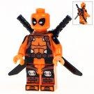 Minifigure Orange Deadpool Marvel Super Heroes Compatible Lego Building Block Toys