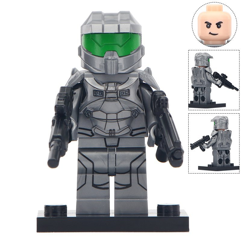 Minifigure Gray Halo Warrior Compatible Lego Building Blocks Toys