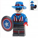 Minifigure Captain America with Hat Marvel Super Heroes Compatible Lego Building Block Toys