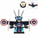 Minifigure Captain America Jetpack Marvel Super Heroes Compatible Lego Building Block Toys