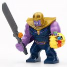 Big Minifigure Thanos with Sword & Chrome Gold Infinity Gauntlet Marvel Super Heroes Compatible Lego