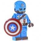 Minifigure Captain America Light Blue Suit Marvel Super Heroes Compatible Lego Building Block Toys