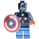 Minifigure Chrome Captain America Marvel Super Heroes Compatible Lego Building Block Toys