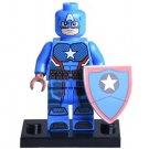 Minifigure Captain America Light Blue Suit Marvel Super Heroes Compatible Lego Building Blocks Toys
