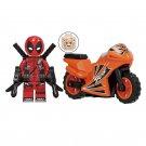 Minifigure Deadpool with Orange Bike Motorcycle Marvel Super Heroes