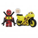 Minifigure Deadpool with Yellow Bike Motorcycle Marvel Super Heroes Compatible Lego