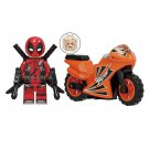 Minifigure Deadpool with Orange Bike Motorcycle Marvel Super Heroes Compatible Lego