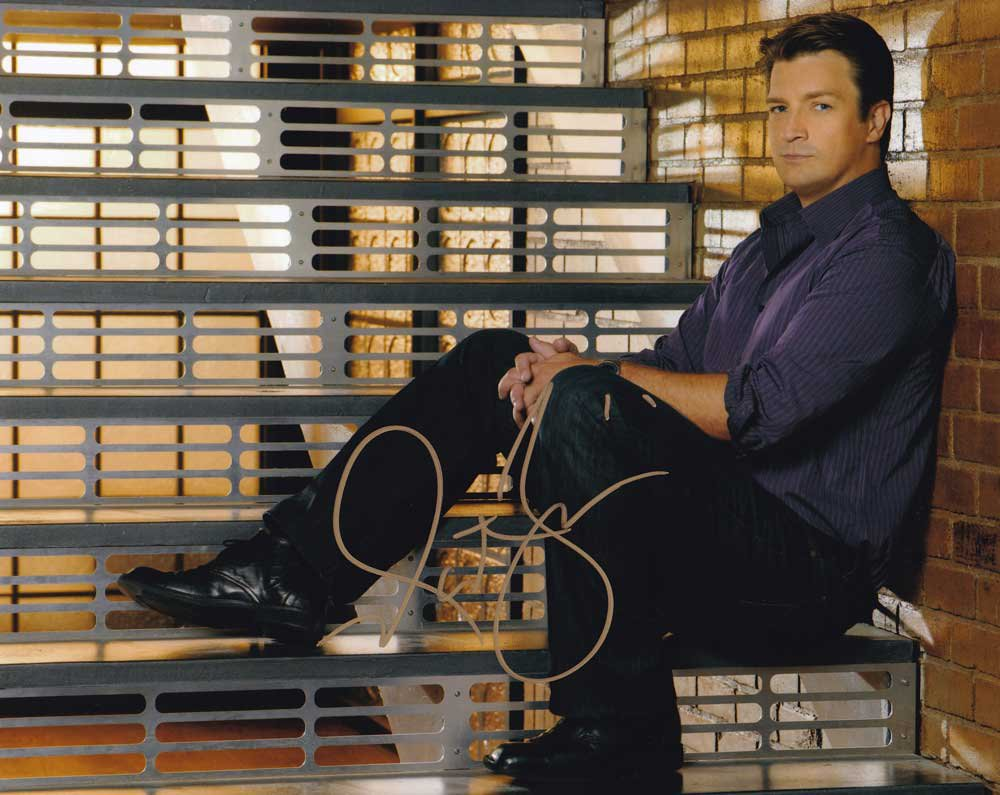 """Nathan Fillion (Firefly / Castle) 8 X 10"""" Autographed Photo - (Reprint 000074) Great Gift Idea!"""