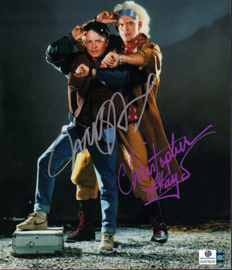 Michael J Fox & Christopher Lloyd Back To The Future Autographed Photo - (Ref:0000110)