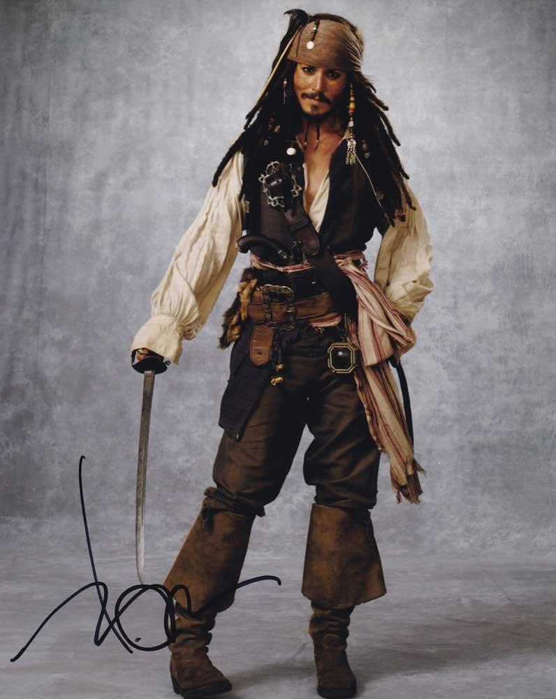 "Johnny Depp (Capt Jack Sparrow Pirates Of The Caribbean) 8 x 10"" Autographed Photo (Reprint:0294)"