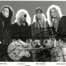 Poison (Glam Band) Bret Michaels, Rikki Rockett, C.C. DeVille Autographed Photo - (Ref:000297)