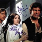 """Mark Hamill, Harrison Ford & Carrie Fisher Star Wars 8 X 10"""" Autographed Photo - (Ref:761)"""