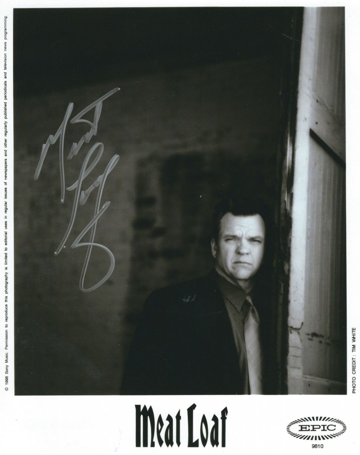 """Meat Loaf 8 x 10"""" The Very Best Of Black & White Promo Photo (Reprint) ideal for Birthdays & X-mas"""