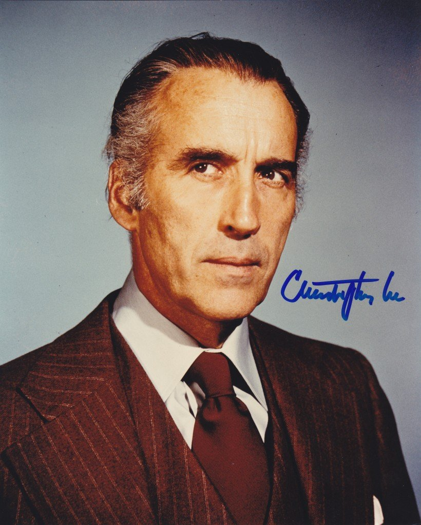 """Rare Christopher Lee (The Man With The Golden Gun/ Dracula) 8 X 10"""" Autographed photo (Reprint :915)"""
