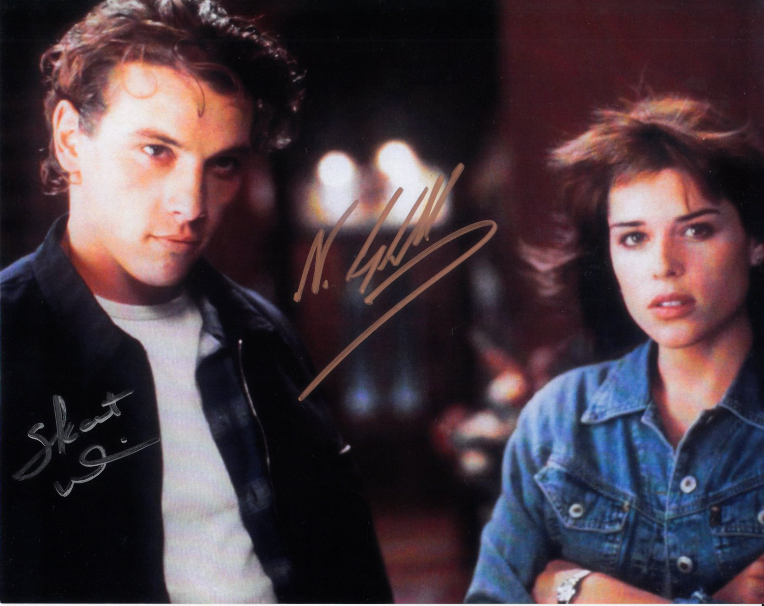 """Scream Cast x2 Neve Campbell and Skeet Ulrich 8 x 10"""" Autographed Photo - (Reprint :1020)"""