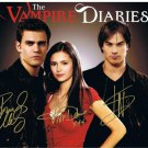 The Vampire Diaries Cast x 3 Autographed / Signed Photo (Reprint:1072) ideal for Birthdays & X-mas