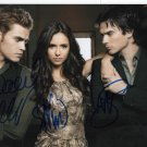 "Signed By 3 The Vampire Diaries Cast x 3 Genuine Hand 8 x 10"" Photo + C.O.A. (Ref:1074)"