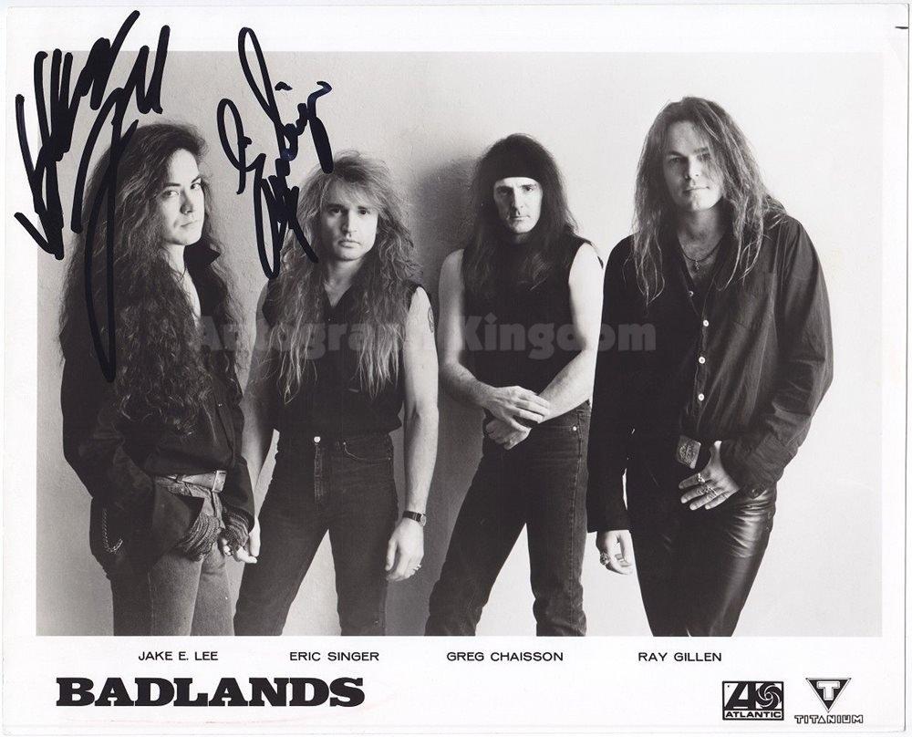 "Badlands Jake E Lee  & Eric Singer 8 x 10"" Autographed Signed Photo - (Reprint :1185)"