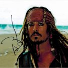 "Johnny Depp as Capt Jack Sparrow Pirates Of The Caribbean 8 x 10"" Autographed Photo - (Reprint:1336)"