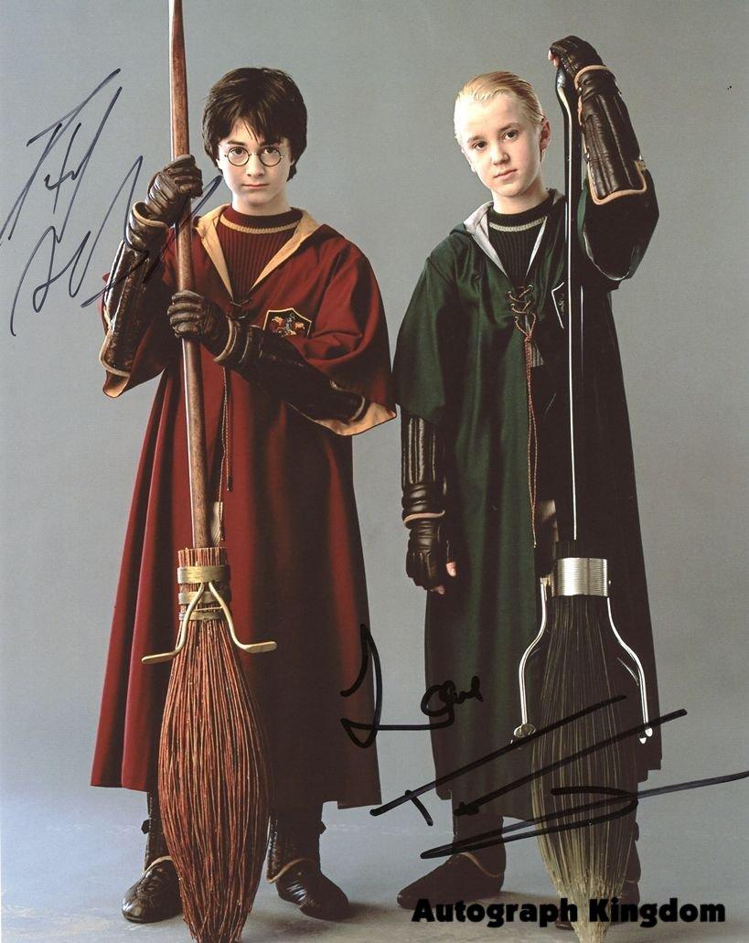 "Signed by 2 Daniel Radcliffe & Tom Felton (Harry Potter) 8 x 10"" Autographed Photo (Reprint :1487)"