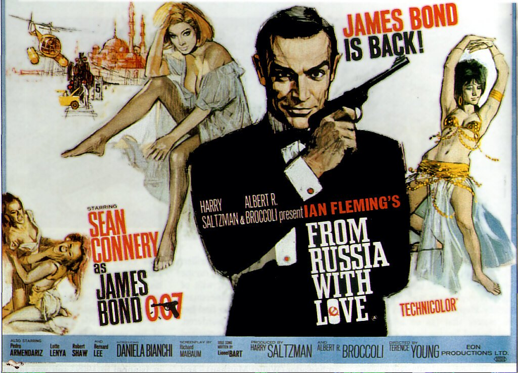 From Russia With Love (Movie) 1963 Vintage Movie Poster | Wall Deco | Bedroom Poster