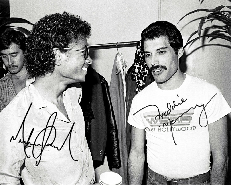 "RARE Freddy Mercury & Michael Jackson double signed 8 X 10"" Black & White Photo Photo (Reprint 1773)"