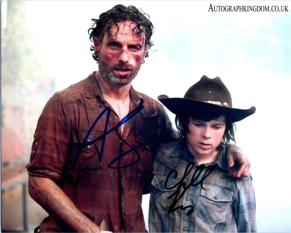 "Andrew Lincoln & Chandler Riggs The Walking Dead 8 x 10"" Autographed Photo (Reprint 2138)"