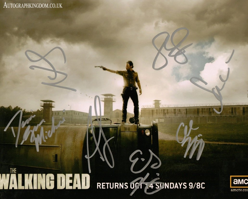 """The Walking Dead Cast 7 Signatures 12 x 10"""" Autographed Photo (Reprint 2144)"""