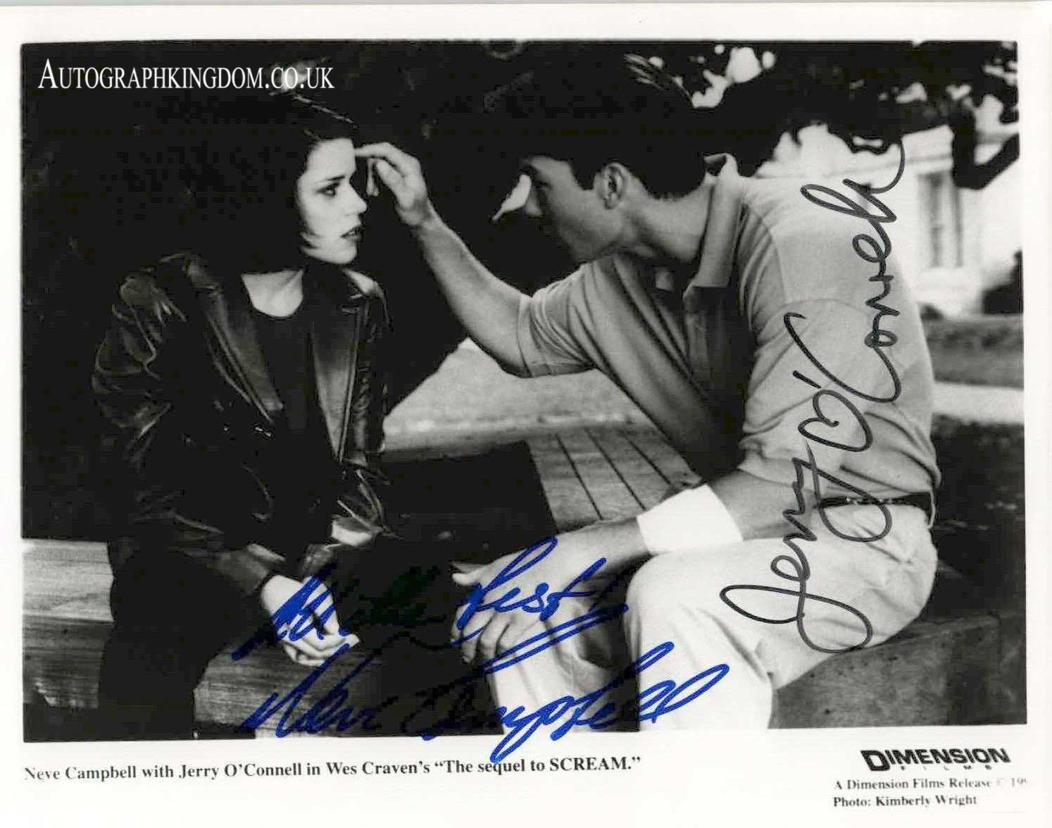 """Signed by 2 Neve Campbell & Jerry O'Connell 8 X 10"""" Autographed Photo Scream (Ref: 030520)"""