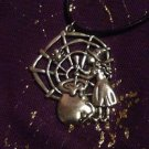 Witch, Cauldron & Cobweb Pendant Necklace Wicca / Witchcraft / Pagan / Occult