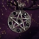 Large Pentagram Pendant Necklace with black stones : Wicca / Witchcraft / Pagan / Occult