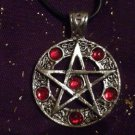 Large Pentagram Pendant Necklace with red stones : Wicca / Witchcraft / Pagan / Occult
