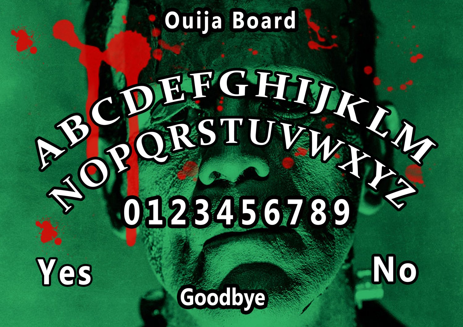 Limited Edition Frankenstein A4 Laminated Ouija Board / Poster | Ghost Hunting | EVP | Seances.
