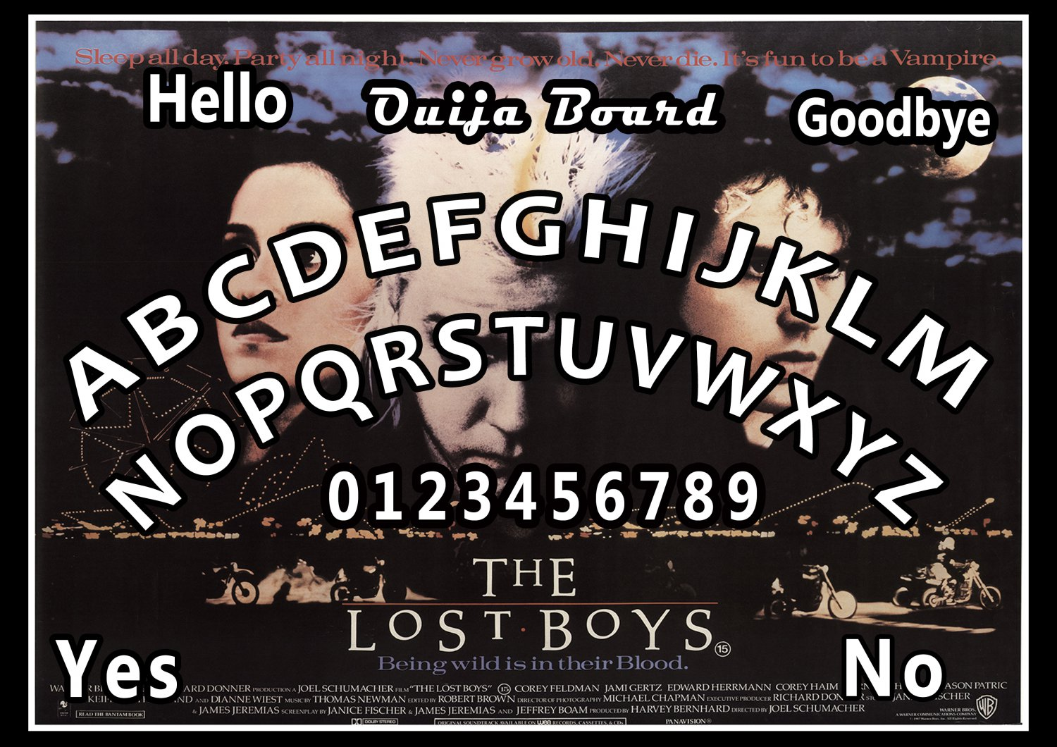 The Lost Boys A4 Laminated Ouija Board / Poster   Ghost Hunting   EVP   Seances No. 2