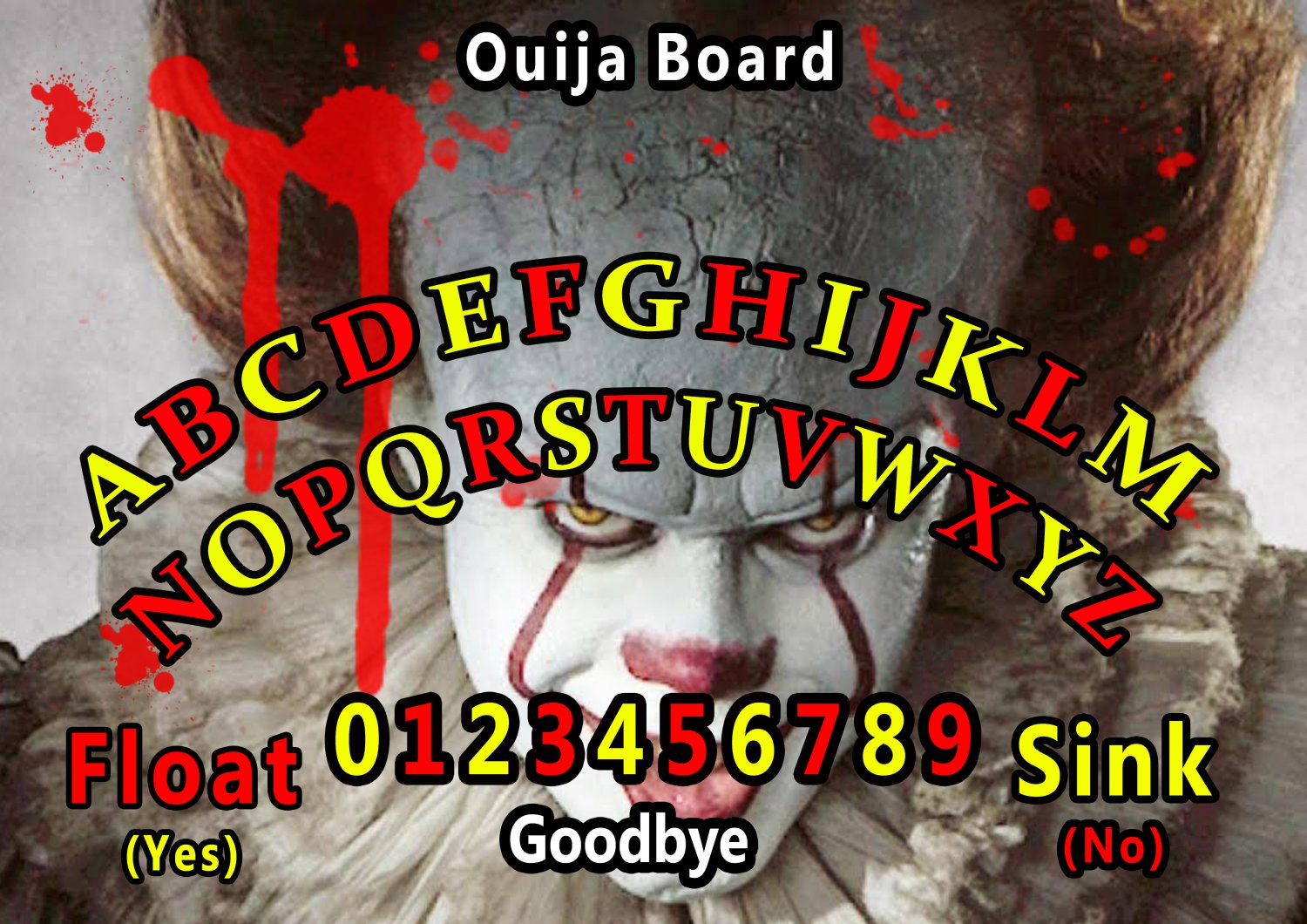 Pennywise 2017 A4 Laminated Ouija Board / Poster | Ghost Hunting | EVP | Seances No. 2