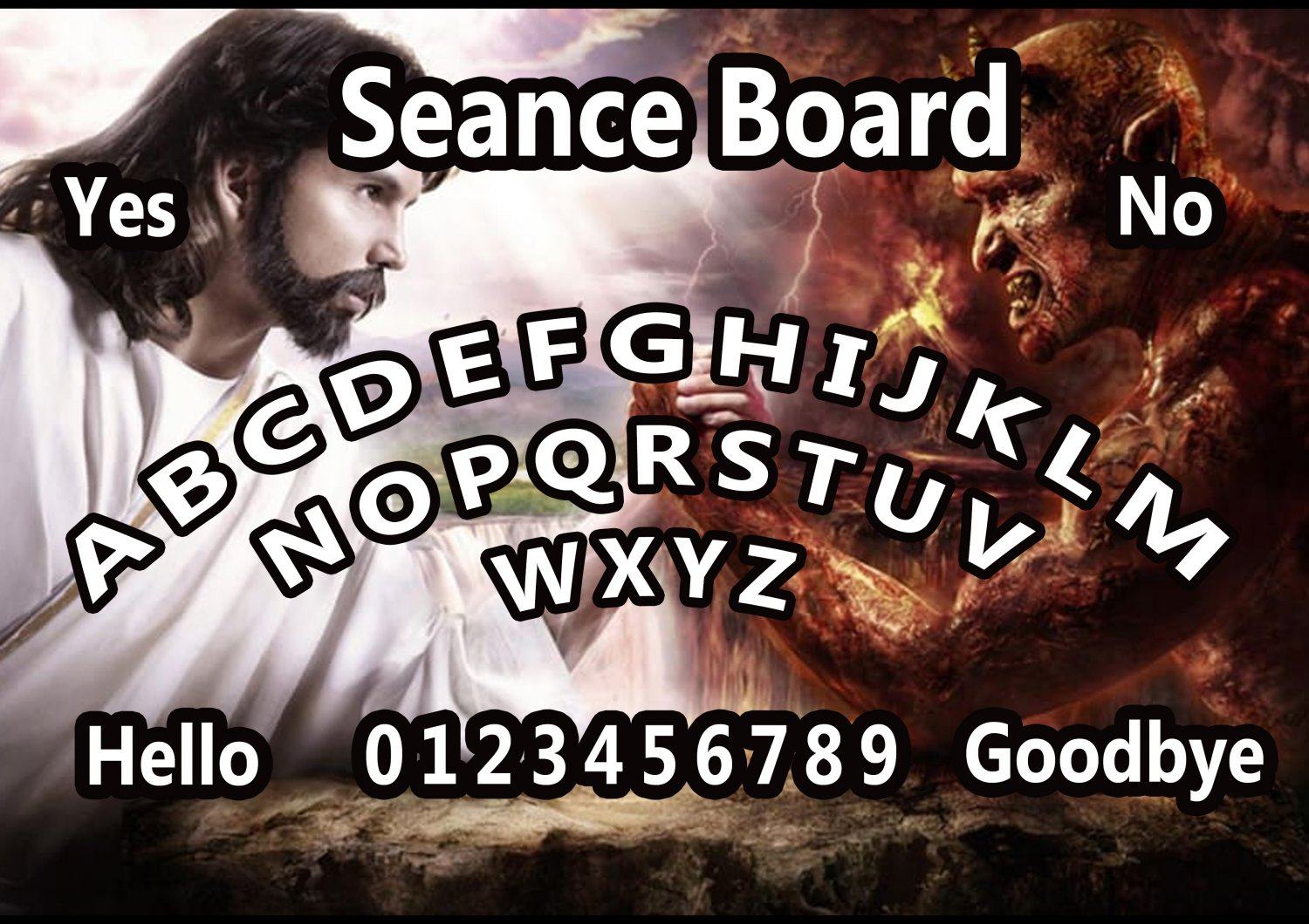 God Vs The Devil A4 Laminated Ouija Board / Poster   Ghost Hunting   EVP   Seances. Free UK shipping