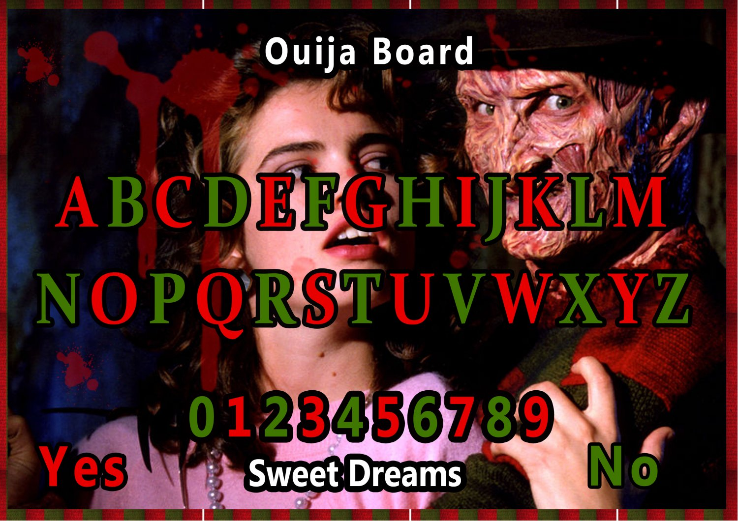 A Nightmare on Elm Street A4 Laminated Ouija Board / Poster print | Ghost Hunting | EVP | Seances