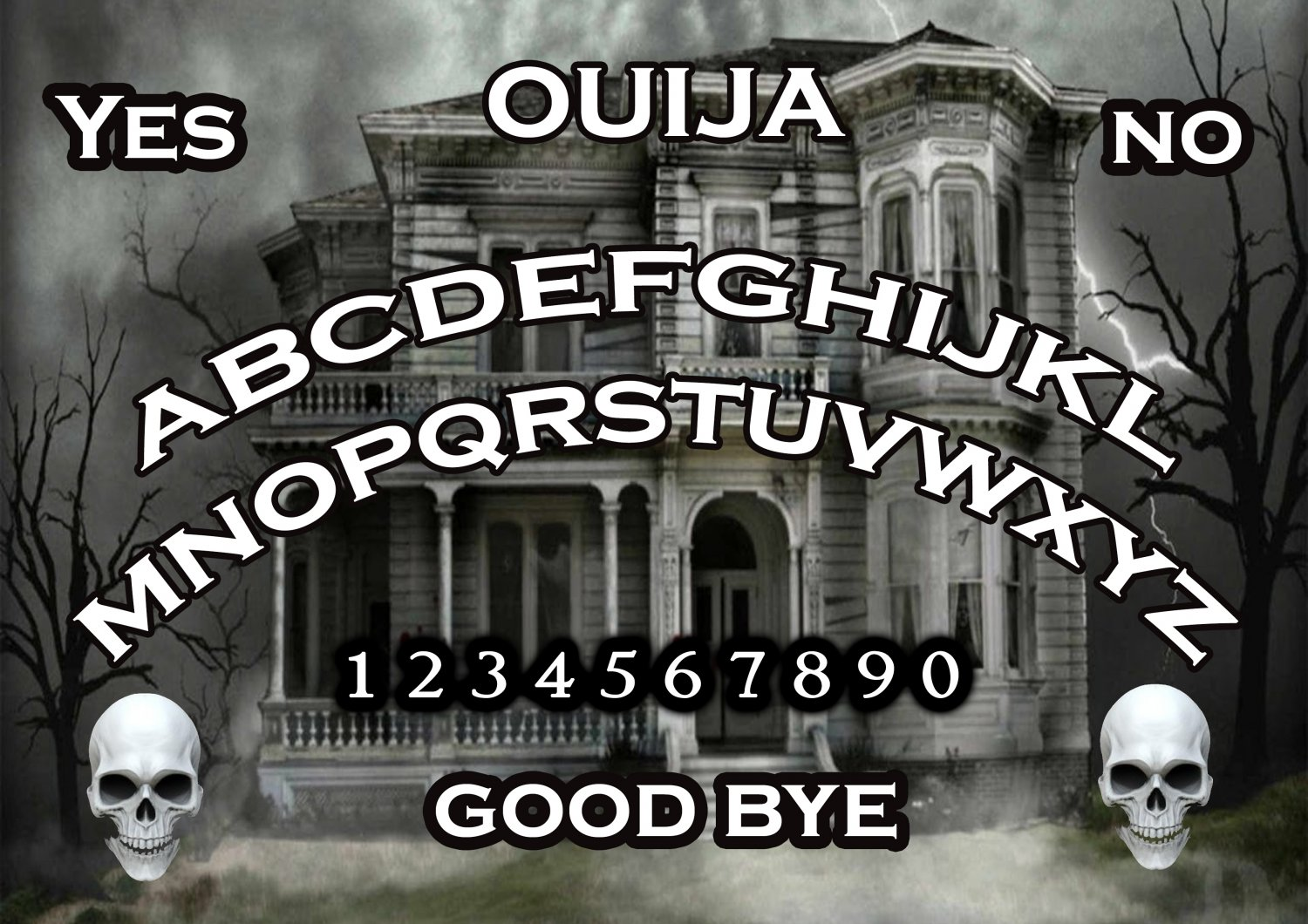 Spooky Haunted House A4 Laminated Ouija Board / Poster print   Ghost Hunting   EVP   Seances V.2
