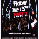 Friday The 13th Part 2 The Body Count Continues A4 Movie Poster Signed by Warrington Gillette