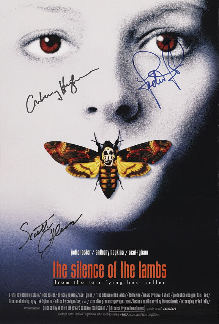 Silence of The Lambs Movie Poster signed by Anthony Hopkins, Jodie Foster & Scott Glenn