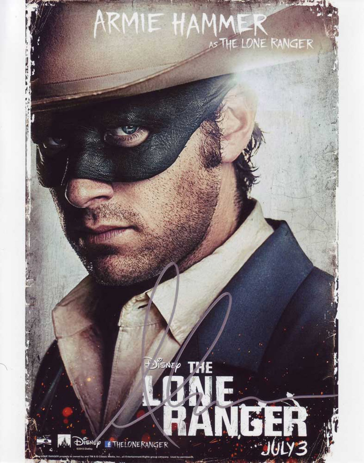 Armie Hammer The Lone Ranger 8 x 10 Autographed Photo (Reprint 810 Great Gift Idea!)