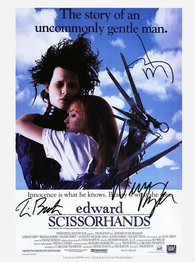 Edward Scissorhands Autographed  Movie Poster signed by 3  (Reprint 634 Great Gift Idea)