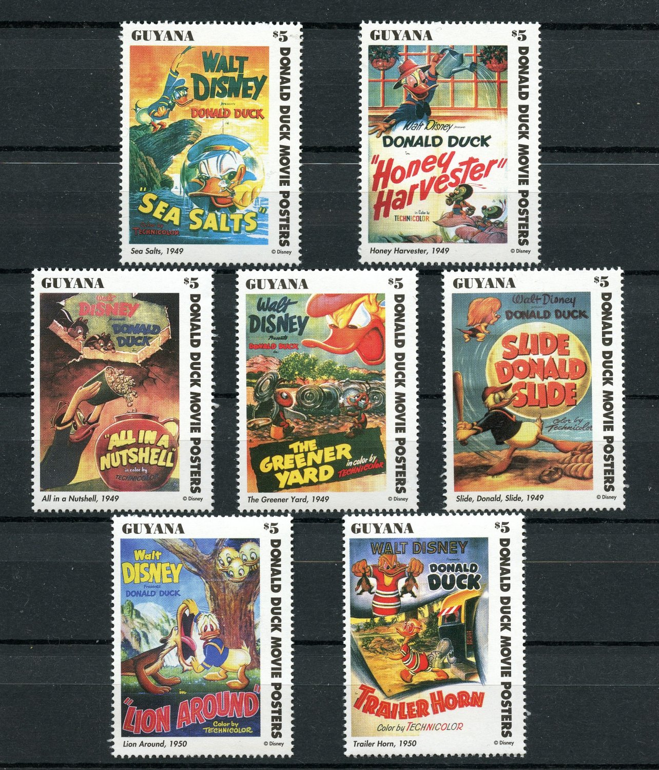 Donald Duck Movie Posters Disney 7 mnh stamps 1996 Guyana set 4