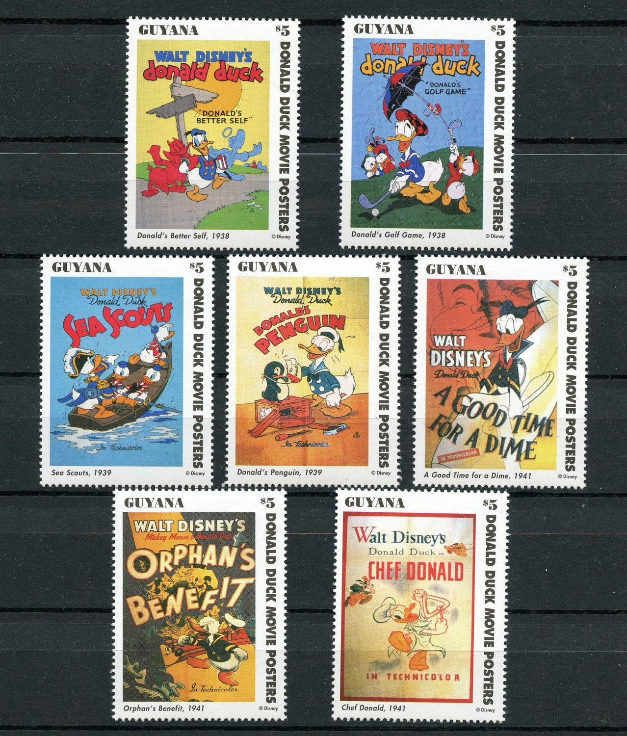 Donald Duck Movie Posters Disney 7 mnh stamps 1996 Guyana set 1